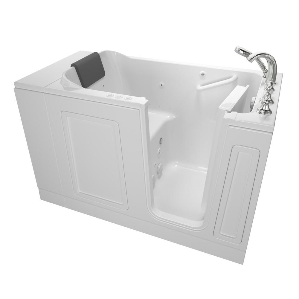 American Standard Acrylic Luxury 51 in. x 30 in. Right Hand Walk-In Whirlpool and Air Bathtub in White
