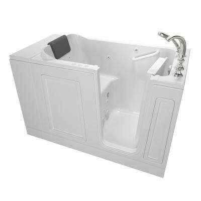 Acrylic Luxury 51 in. x 30 in. Right Hand Walk-In Whirlpool and Air Bathtub in White