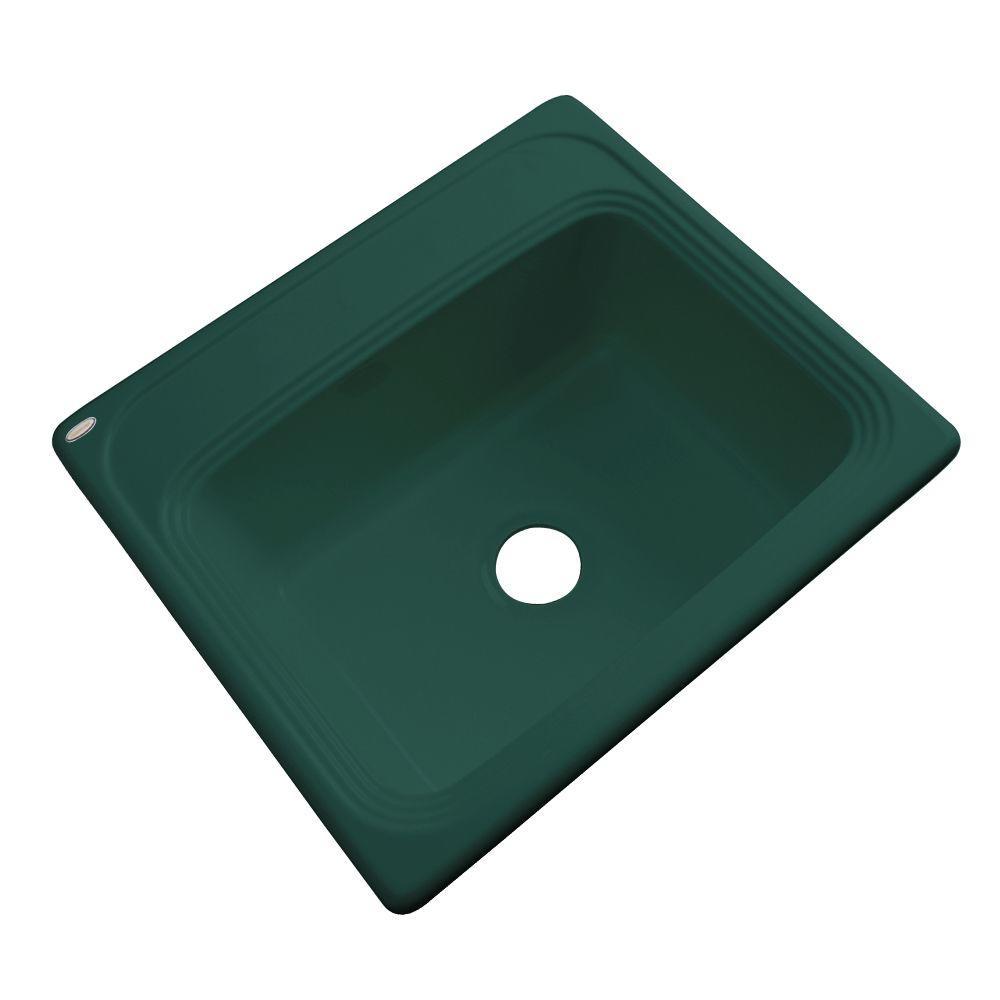 Wellington Drop-In Acrylic 25 in. 0-Hole Single Bowl Kitchen Sink in Rain Forest
