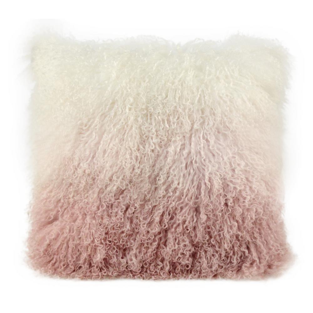 Tibetan Sheep White to Blush and Cream Throw Pillow