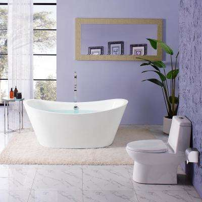 Ivy 67 in. Acrylic Double Slipper Freestanding Flatbottom Non-Whirlpool Oval Soaking Bathtub in White