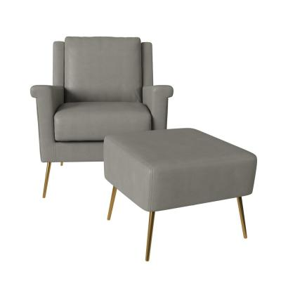 Tyrell Mid Century Modern in Taupe Gray Tuff Stuff Fabric Chair and Ottoman Set