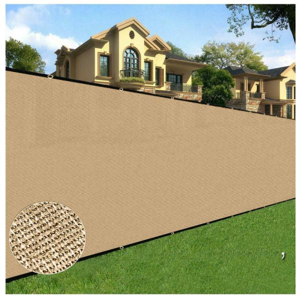 4 ft. x 50 ft. Beige Privacy Fence Screen Netting Mesh with Reinforced Grommet for Chain link Garden Fence