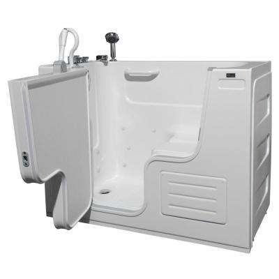HydroLife Deluxe 4.25 ft. Left Drain Walk-In Heated Air Bath Tub in White