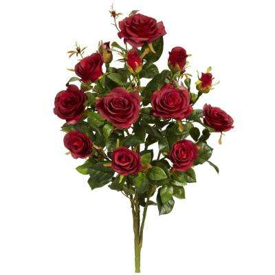Indoor 28 in. Garden Rose Artificial Plant (Set of 2)