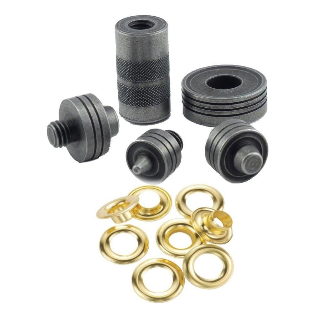 General tools brass grommet fastening kit with case for 3 furniture grommet