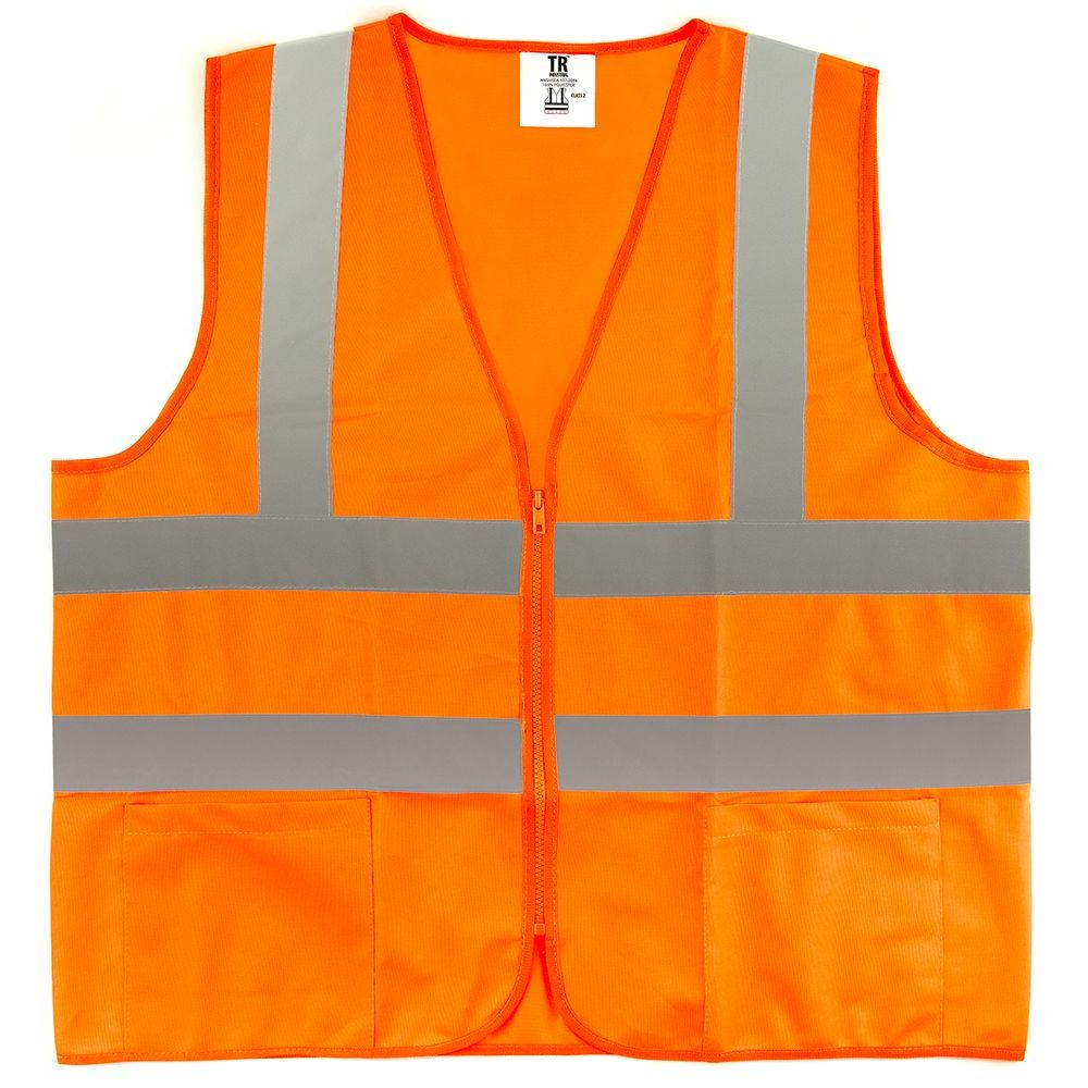 Large Orange High Visibility Reflective Class 2 Safety Vest (5-Pack)