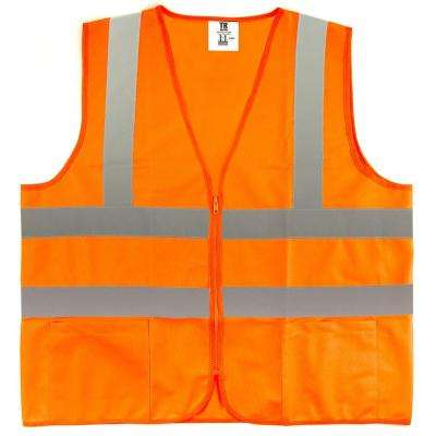 XL Orange High Visibility Reflective Class 2 Safety Vest (5-Pack)
