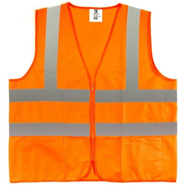 XXL Orange High Visibility Reflective Class 2 Safety Vest (5-Pack)