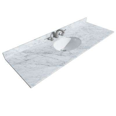Sheffield 60 in. W x 22 in. D Marble Single Basin Vanity Top in White with White Basin