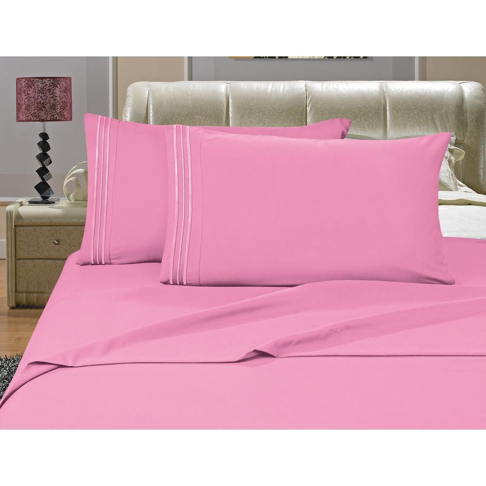 1500 Series 4-Piece Light Pink Triple Marrow Embroidered Pillowcases Microfiber