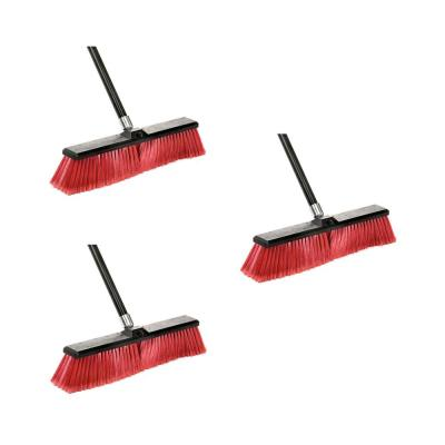 24 in. Red Indoor Outdoor Smooth Surface Push Broom (3-Pack)