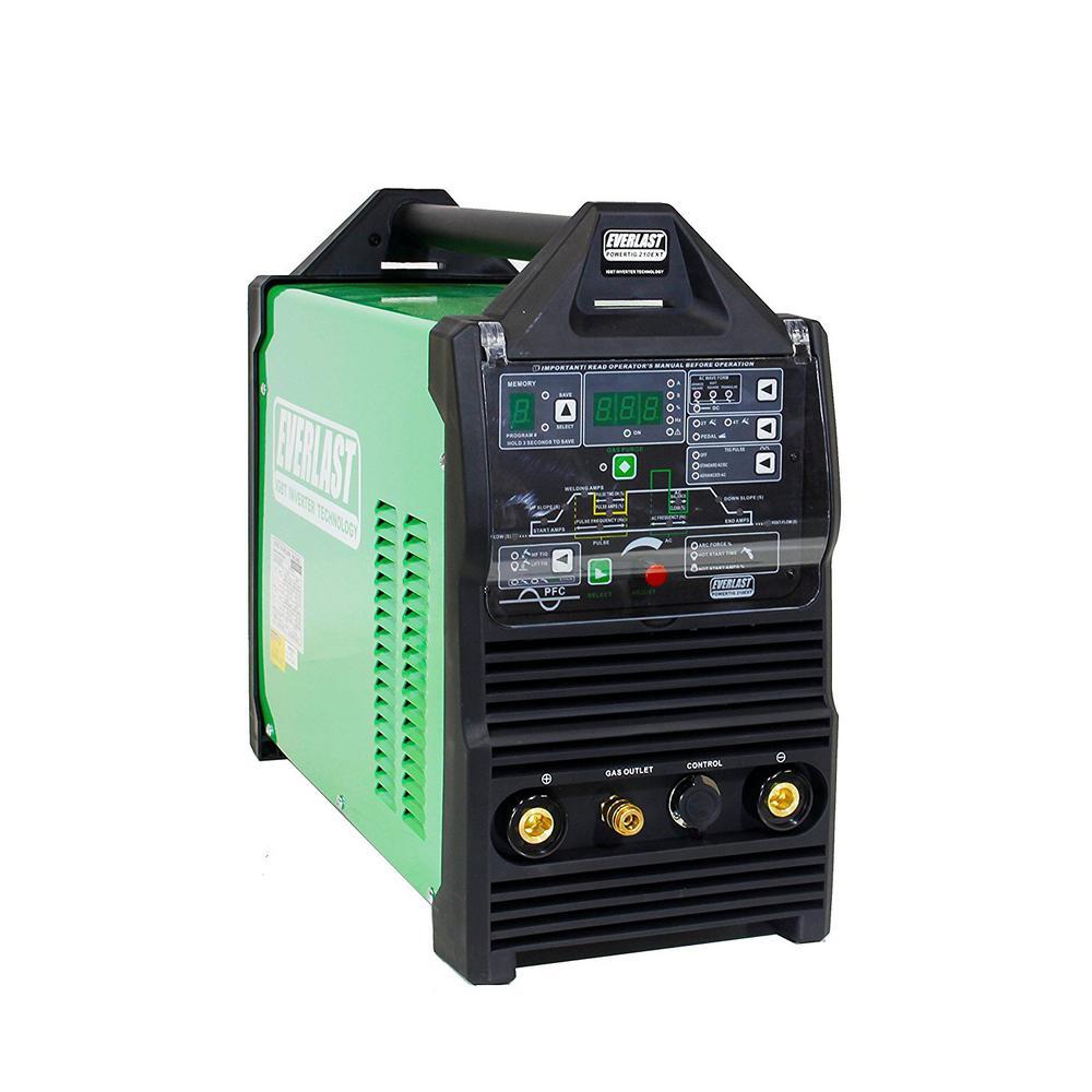 210 Amp PowerTIG 210EXT IGBT Digital Inverter AC/DC Stick/TIG Welder with High Frequency and Lift TIG Start, 120V/240V