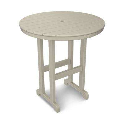 La Casa Cafe 36 in. Sand Round Patio Counter Table