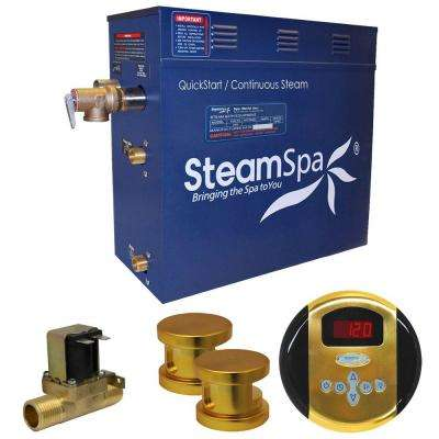 Oasis 12kW QuickStart Steam Bath Generator Package with Built-In Auto Drain in Polished Gold