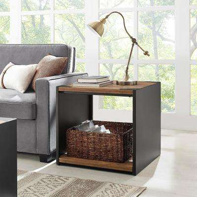 Rustic Wood Storage Side Table