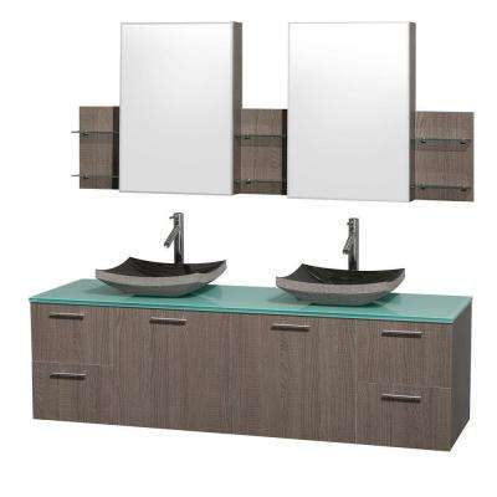 Amare 72 in. Double Vanity in Grey Oak with Glass Vanity Top in Aqua and Black Granite Sinks