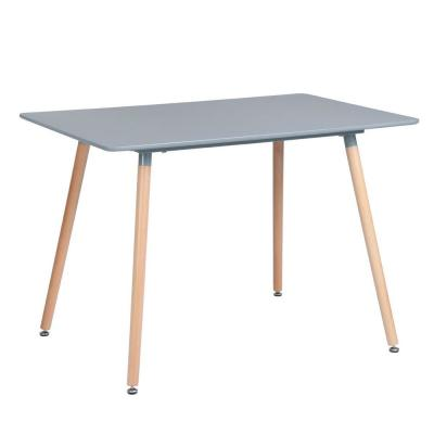 Rookie Grey Top Rectangular Dining Table with Round Beech Wood Legs