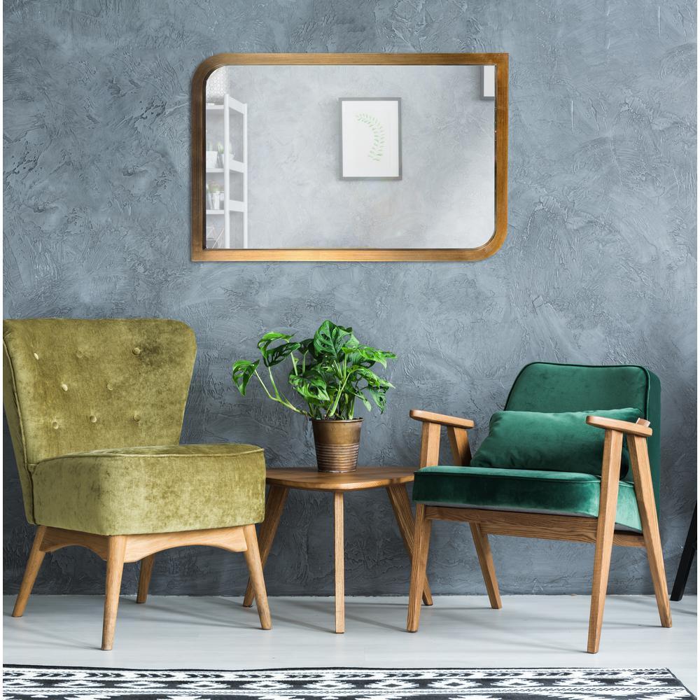 Swoop Rectangular Brass Wall Mirror
