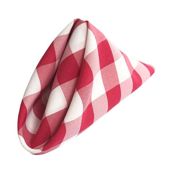 18 in. x 18 in. White and Fuchsia Gingham Checkered Napkins (10-Pack)