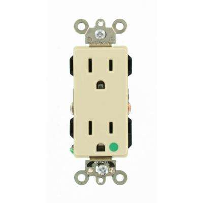 Decora Plus 15 Amp Hospital Grade Extra Heavy Duty Self Grounding Duplex Outlet, Ivory