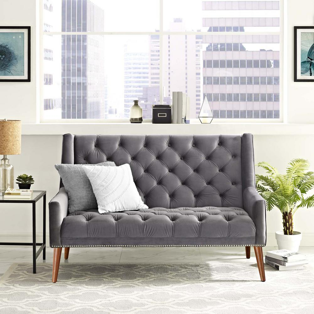 Peruse Gray Velvet Loveseat