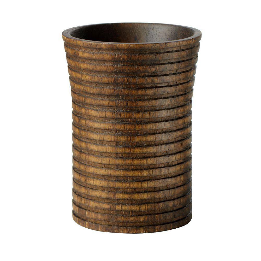 Home Decorators Collection Eko 2-3/4 in. W Tumbler in Ribbed Wood