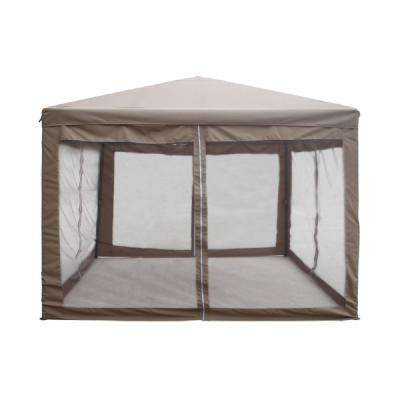 10 ft. x 10 ft. Brown Canopy Gazebo with Mesh Insect Screen