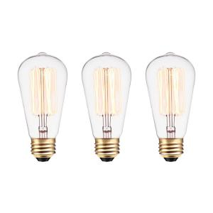60W Vintage Edison S60 Squirrel Cage Incandescent Filament Light Bulb (3-Pack)