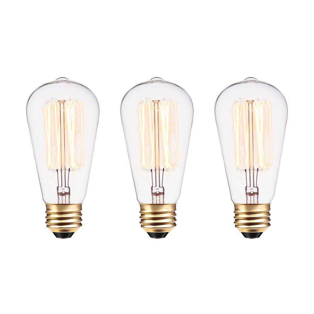 60W Vintage Edison S60 Squirrel Cage Incandescent Filament Light Bulb (3-Pack)