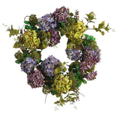 24 In. Mixed Hydrangea Silk Plant Wreath