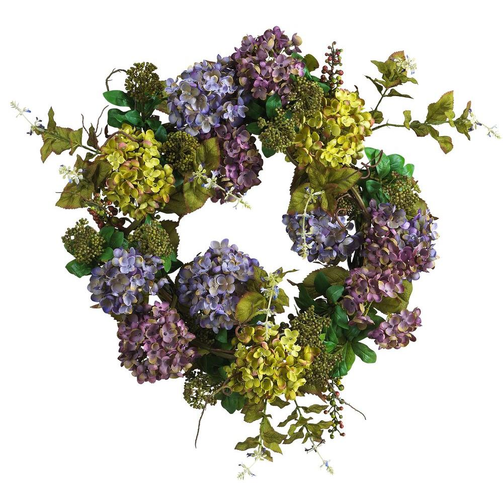 Nearly Natural 24 In. Mixed Hydrangea Silk Plant Wreath