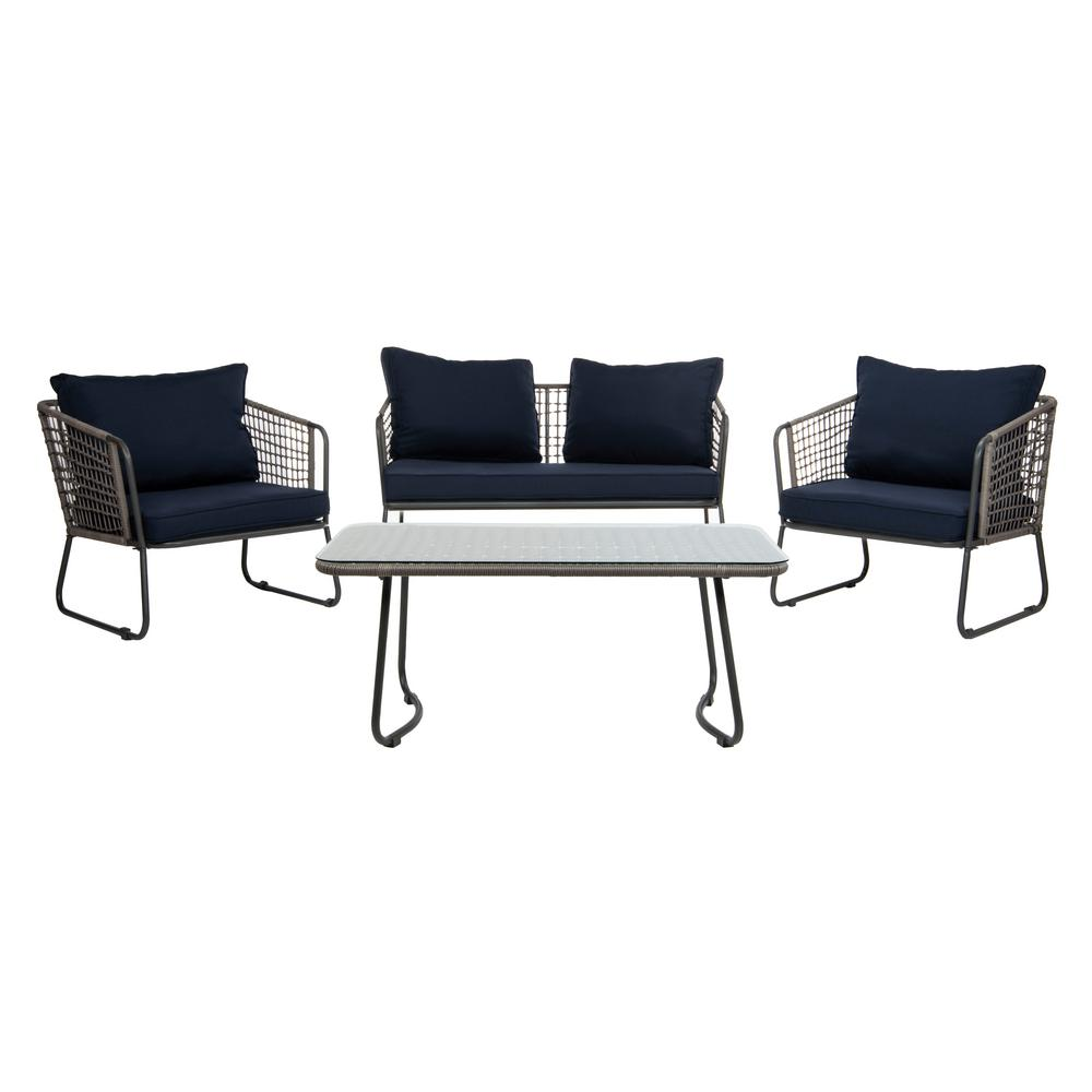 Safavieh Benjin Gray 4-Piece Wicker Patio Conversation Set with Navy Cushions