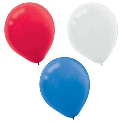 12 in. Red, White and Blue Latex Balloons (72-Count, 2-Pack)
