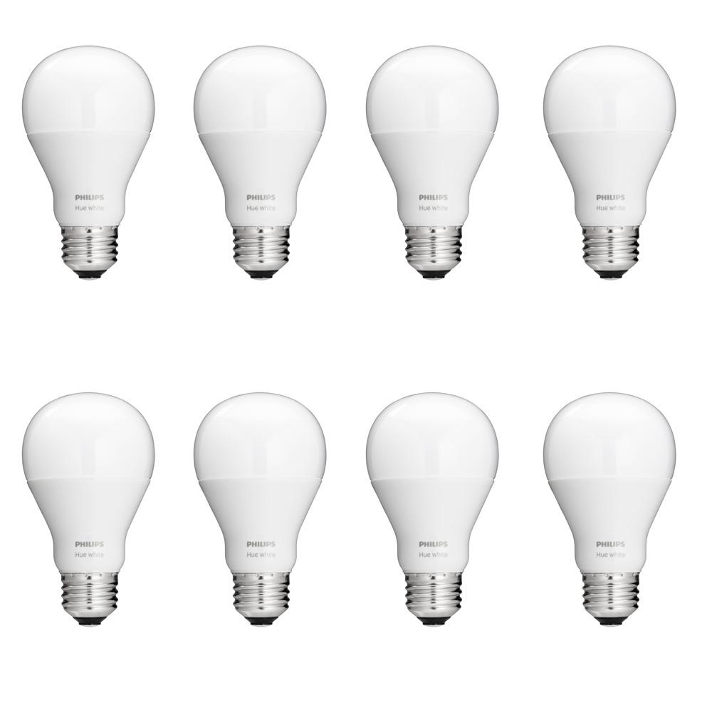 Philips Hue White A19 LED 60W Equivalent Dimmable Smart Wireless Light Bulb  Starter Kit (8 Bulbs and Bridge)