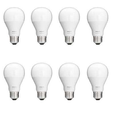 White A19 LED 60W Equivalent Dimmable Smart Wireless Light Bulb Starter Kit (8 Bulbs and Bridge)