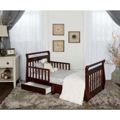 Espresso Toddler Adjustable Sleigh Bed with Storage Drawer