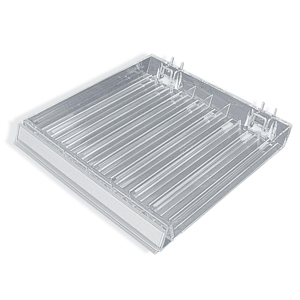 8-Compartment Clear Tray with Flip Front C-Channel for Pegboard/Slatwall/Counter