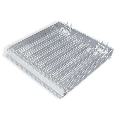 8-Compartment Clear Tray with Flip Front C-Channel for Pegboard/Slatwall/Counter (2-Pack)