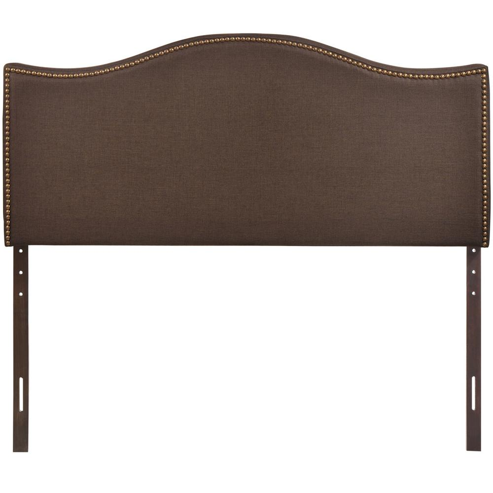 Curl Dark Brown Queen Nailhead Upholstered Headboard