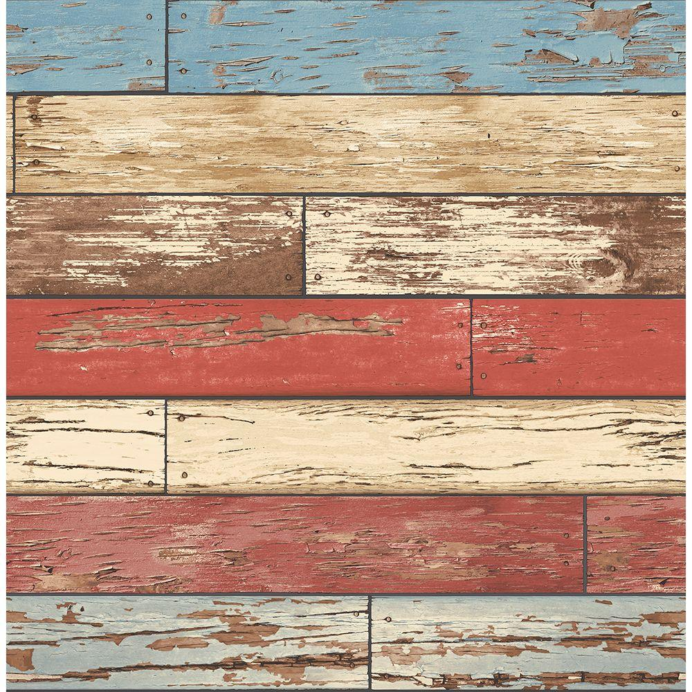 Brewster Brewster 56.4 sq. ft. Levi Multicolor Scrap Wood Wallpaper, Red