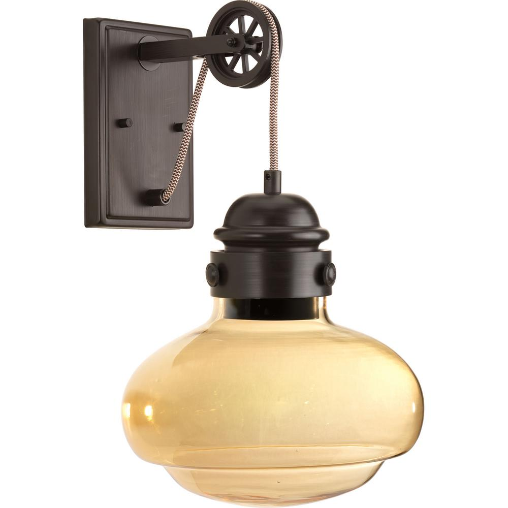 Progress Lighting Beaker Collection 9 Watt Antique Bronze Integrated Led Wall Sconce With Champagne Gl
