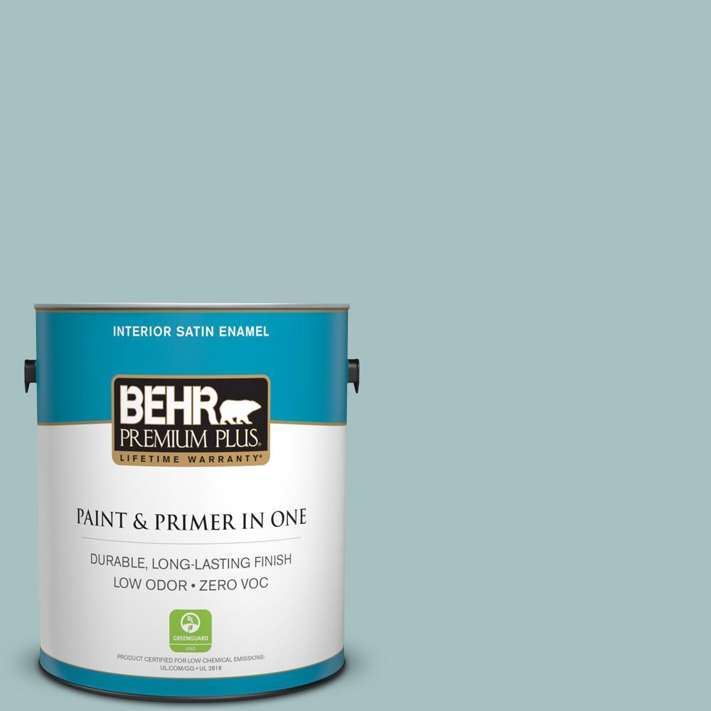 BEHR Premium Plus 1-gal. #500F-4 Swan Sea Zero VOC Satin Enamel Interior Paint