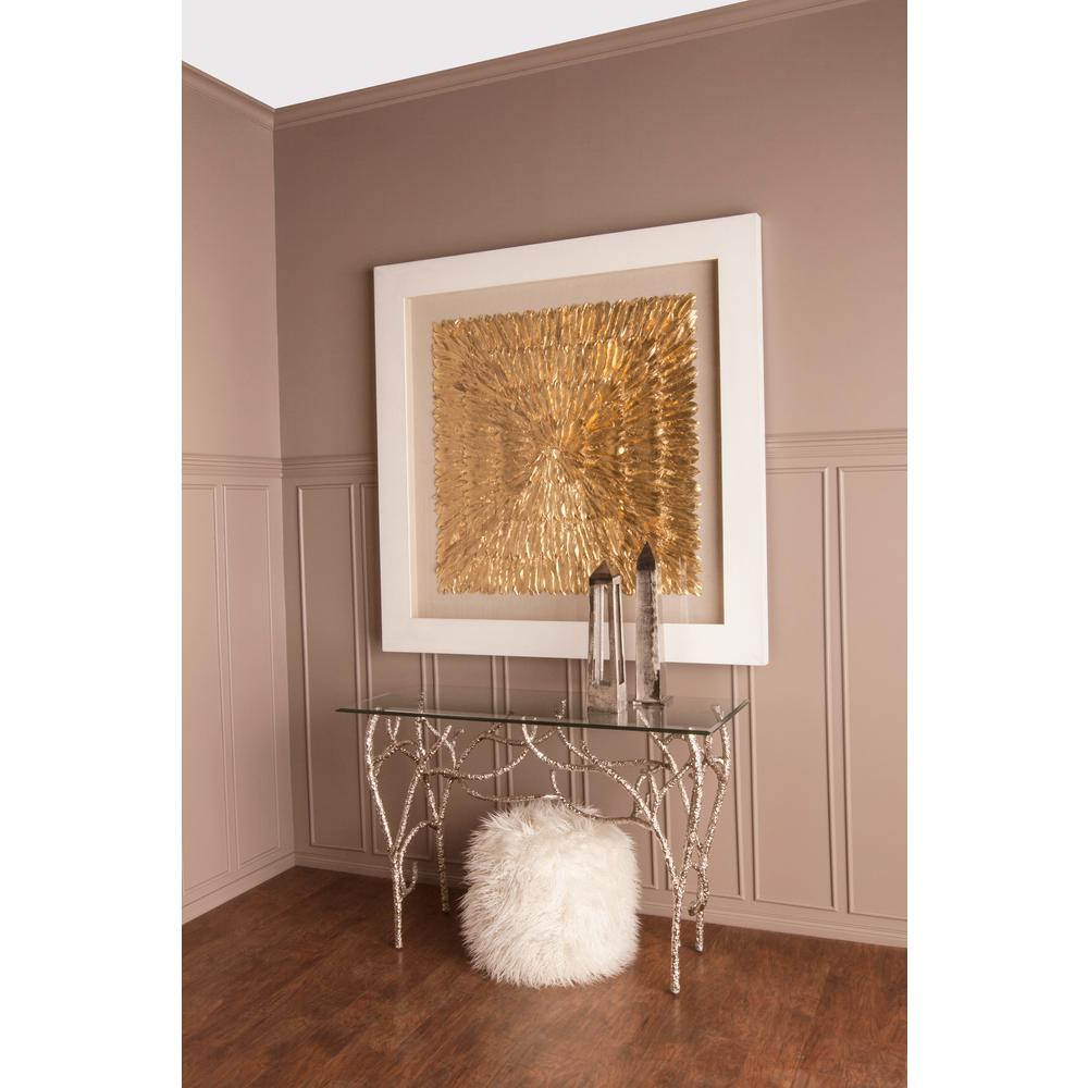 """Titan Lighting 55 in. x 55 in. """"Gold Feather Spaturral"""" Wood and Feather Wall Art"""