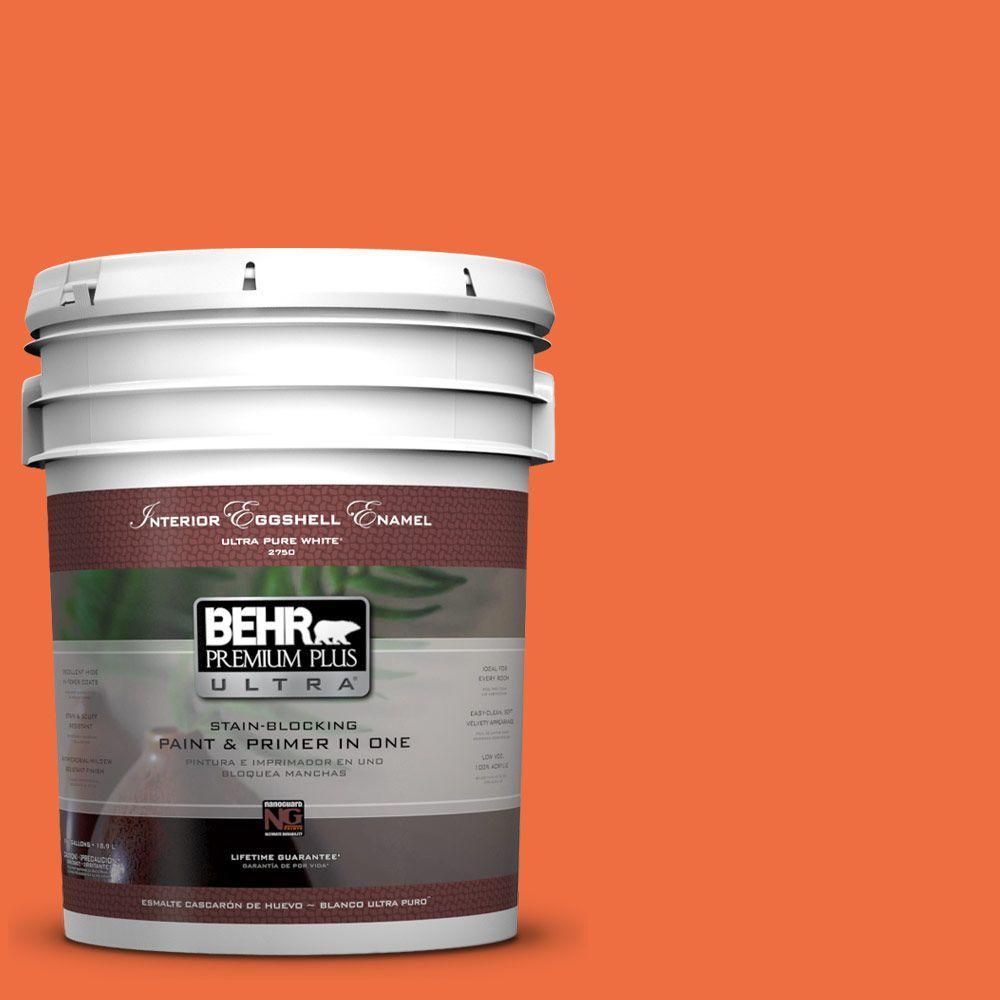 BEHR Premium Plus Ultra 5-gal. #210B-6 Aurora Orange Eggshell Enamel Interior Paint