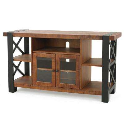 Oak Brown TV Console with 2 Doors and 5 Shelves