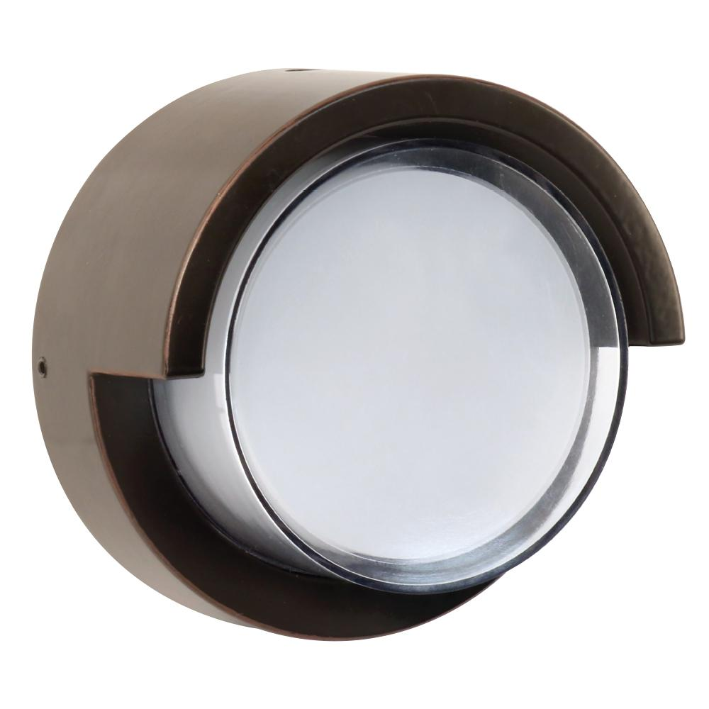 7.5-Watt Bronze Outdoor Integrated LED Low Profile Round Wall Pack Light
