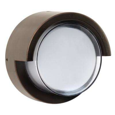 7.5-Watt Bronze Outdoor Integrated LED Low Profile Round Wall Pack Light with Dusk to Dawn Photocell Sensor