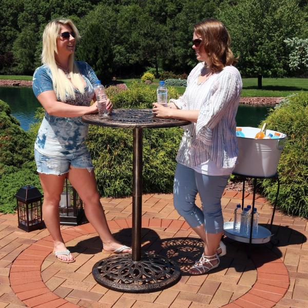 Sunnydaze Decor 40 In Cast Iron Bar Height Patio Outdoor Round High Top Pub Table Yuk 003 The Home Depot