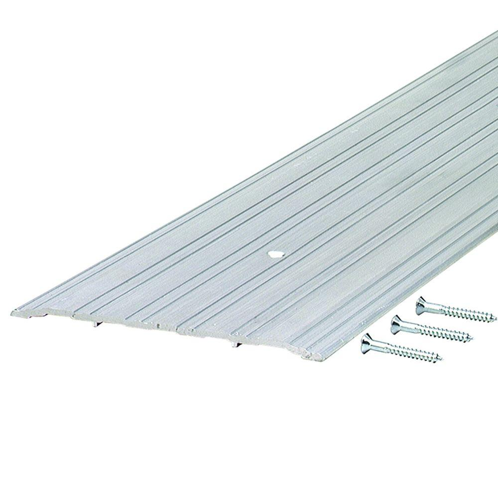 Fluted Saddle 6 in. x 80.5 in. Aluminum Commercial Threshold, Grays